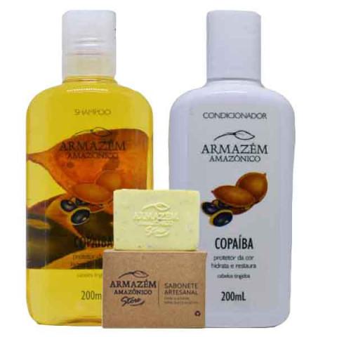 KIT  Copaíba da Amazônia Shampoo +Condicionador +Sabonete de Copaíba