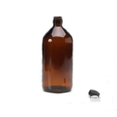 Frasco de 1 litro de Vidro Ambar com Tampa lacre Batoque
