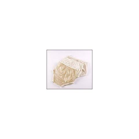 Calça simples fechada em plástico bege e nylon externo bege(tamanhos 36 a 54)-50