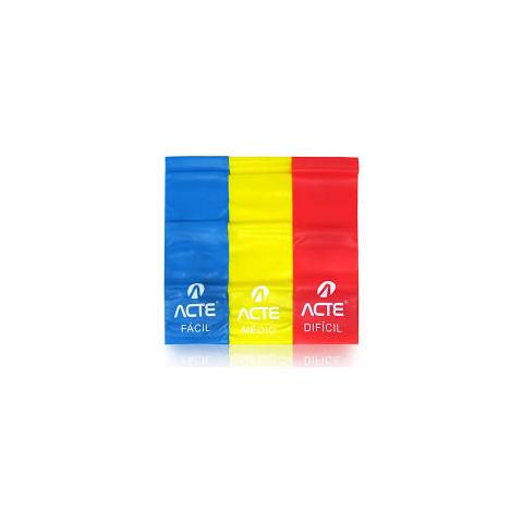 Látex band ACTE-Kit com 3 faixas(amarela, vermelha e azul)