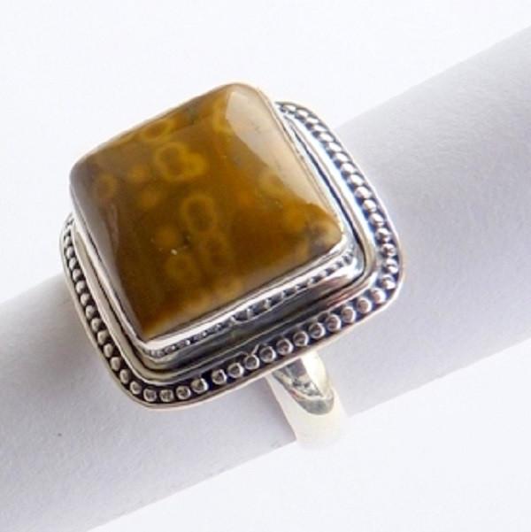 Anel Prata 925 com Garantia e Pedra Jaspe Picture Cód 8405