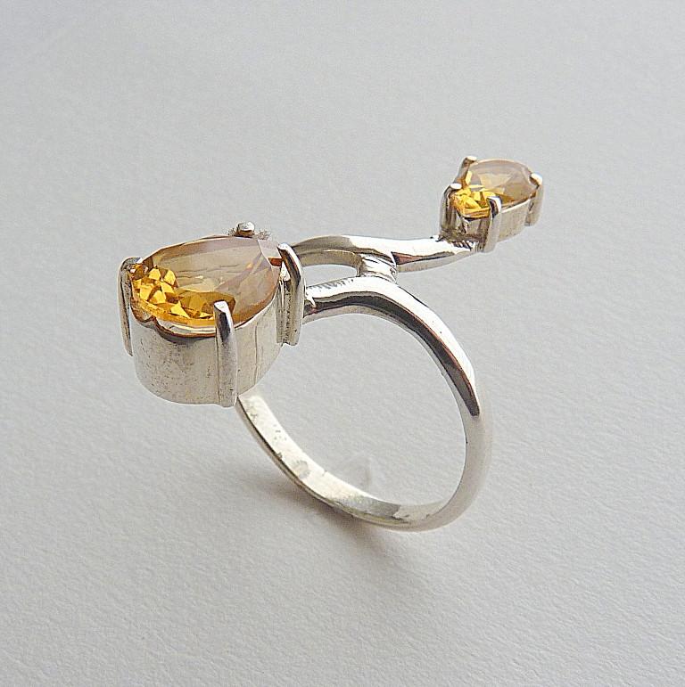 Anel de Prata 925 com Pedra Preciosa Citrino Natural 2566