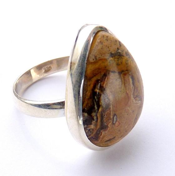 Anel de Prata Indiana 925 com Garantia e Pedra Jaspe Picture NATURAL 8432