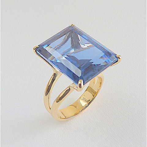 Anel de OURO 18k com Pedra Preciosa TOPÁZIO NATURAL AZUL LONDON Natural 1901