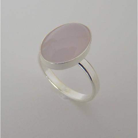 Anel de Prata 925 com Garantia e Pedra Preciosa Quartzo Rosa Natural 7572