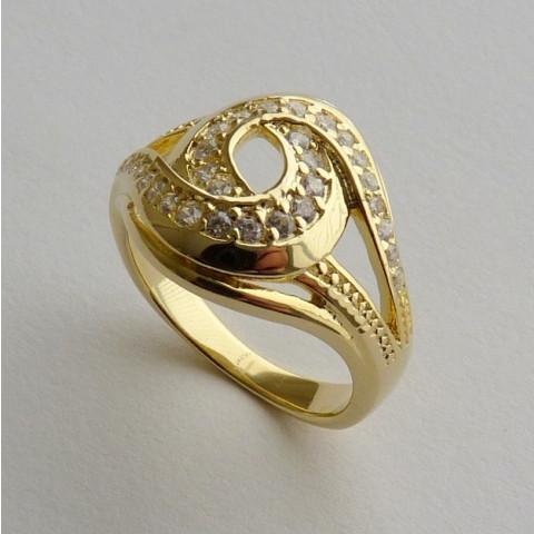 Anel Prata 925 com Garantia e Banho de Ouro Amarelo 30 Zircônias Aro 22 Cód 7525-22