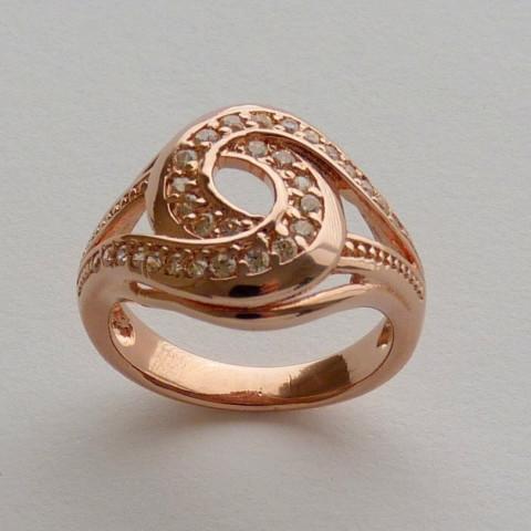 Anel Prata 925 com Garantia e Banho de Ouro Rose 30 Zircônias Aro 15 Cód 7528-15