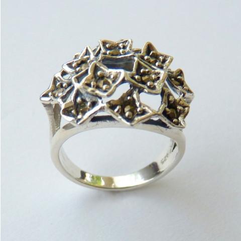 Anel de Prata Indiana 925 com Pedra Preciosa Marcassita Natural 8526
