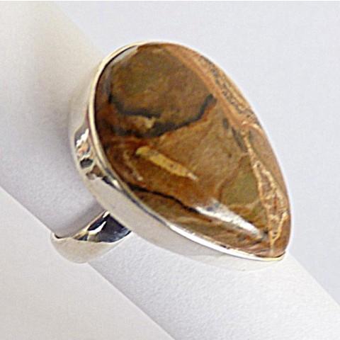 Anel de Prata 925 com Garantia e Pedra Jaspe Picture natural 8436