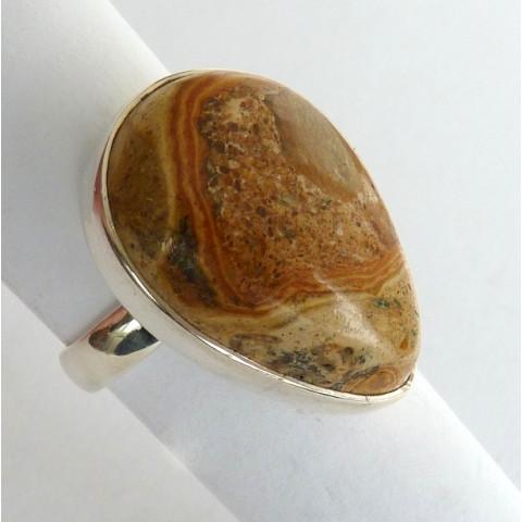 Anel de Prata 925 com Garantia e Pedra Jaspe Picture natural 8438