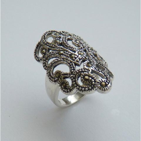 Anel de Prata Indiana 925 com Pedra Preciosa Marcassita Natural 8514