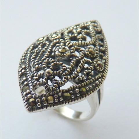 Anel de Prata Indiana 925 com Pedra Preciosa Marcassita Natural 8518.