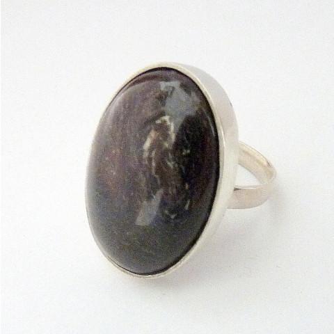 Anel de Prata 925 com Garantia e Pedra Preciosa Jaspe Natural 3902
