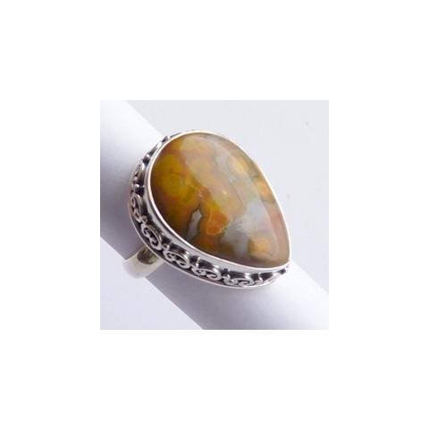 Anel Prata 925 com Garantia e Pedra Jaspe Picture Cód 8406