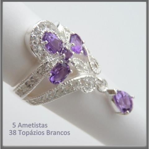 Anel de Prata 925 com Garantia e Pedra Preciosa Ametista e Topázio Naturais 9423