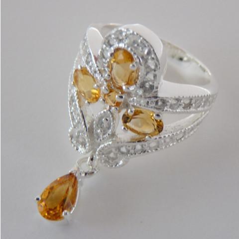 Anel de Prata 925 com Garantia e Pedra Preciosa Citrino e Topázio Naturais Cód 9425