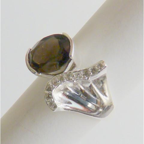 Anel de Prata 925 com Garantia e Pedra Preciosa Fumê e Topázio Naturais 9443