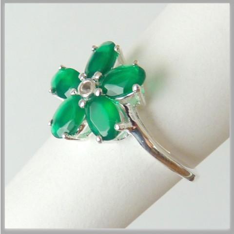 Anel de Prata 925 com Garantia e Pedra Preciosa Jade Verde e Topázio Natural  9401