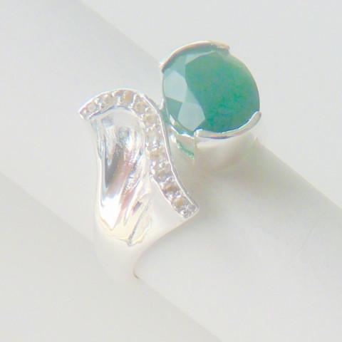 Anel de Prata 925 com Garantia e Pedra Preciosa Jade Verde e Topázio Naturais 9442