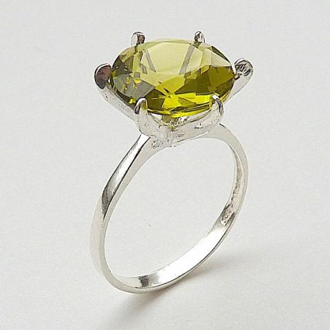 Anel de Prata 925 com Pedra Preciosa Olivina Natural 2647