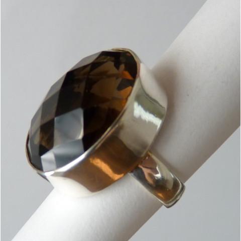 Anel de Prata 925 com Garantia e Pedra Preciosa Quartzo Escuro Natural 8832