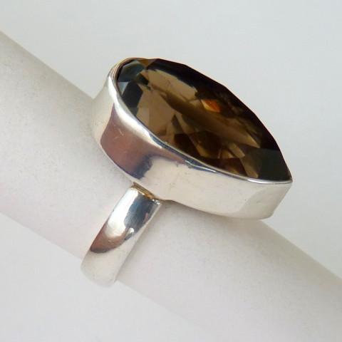 Anel de Prata 925 com Garantia e Pedra Preciosa Quartzo Escuro Natural 8833