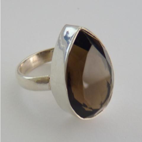 Anel de Prata 925 com Garantia e Pedra Preciosa Quartzo Escuro Natural  8834