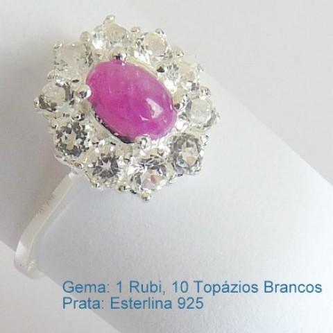 Anel de Prata 925 com Garantia e Pedra Preciosa Rubi e Topázio Branco Naturais 7033