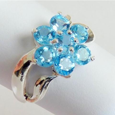 Anel de Prata 925 com Garantia e Pedra Preciosa Topázio Sky Blue Natural 7034