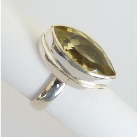 Anel de Prata Indiana 925 com Pedra Preciosa Topázio Natural 8481