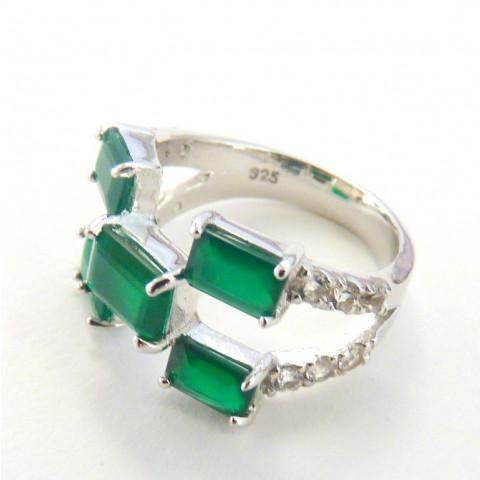 Anel de Prata 925 com Garantia e Ródio com Pedras Preciosas Jade Verde e Topázio Naturais 9465