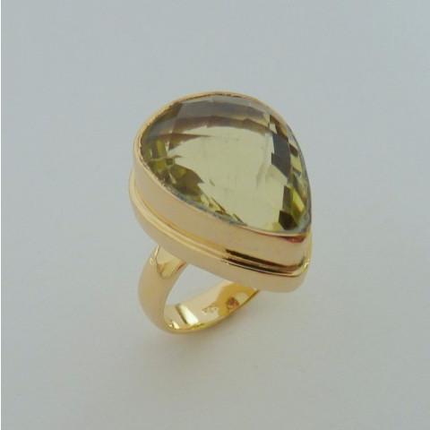 Anel de Prata 925 com Garantia e Folheado Ouro 18k e Pedra Preciosa Topázio Natural 5820