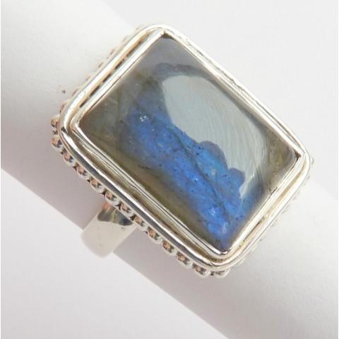 Anel de Prata 925 com Garantia e Pedra Preciosa Labradorita Azul Natural 6651