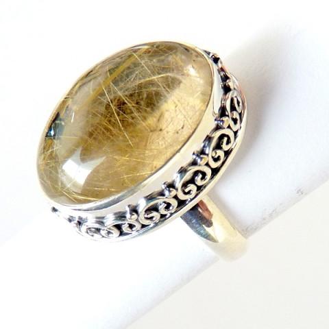 Anel de Prata 925 com Garantia e Pedra Preciosa Rutilado Ouro 7768