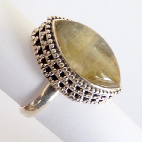 Anel de Prata 925 com Garantia com Pedra Preciosa Rutilo Ouro 3523