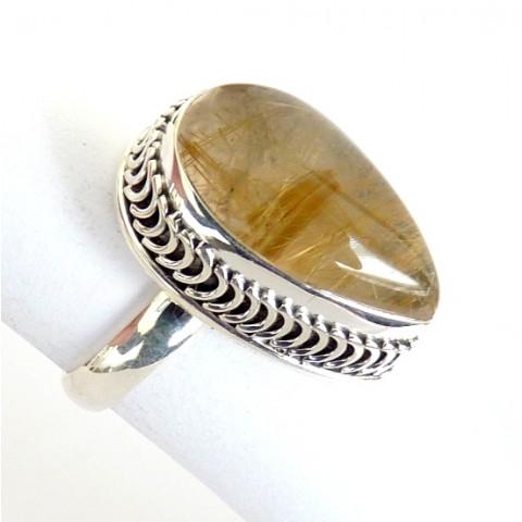 Anel de Prata Indiana 925 com Pedra Preciosa Rutilo Ouro Natural 8479