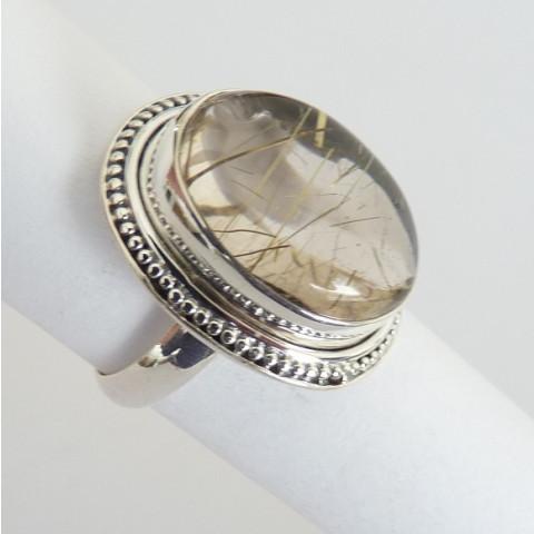Anel de Prata 925 com Garantia e Pedra Preciosa Rutilo Ouro Natural 9636