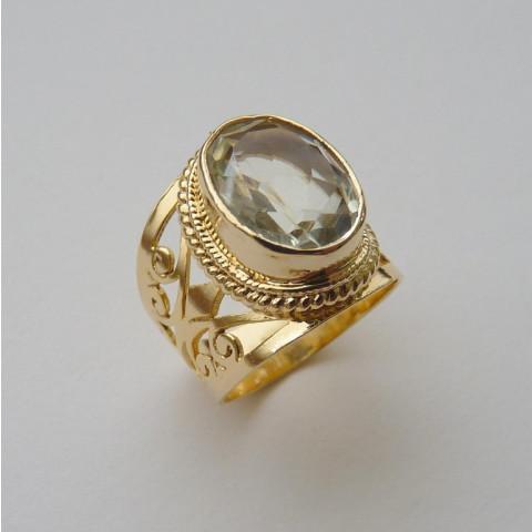 Anel de Prata 925 com Garantia e Folheado a Ouro 18 k e Pedra Preciosa PRASIOLITA NATURAL 7798