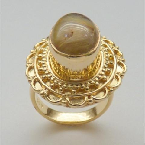 Anel de Prata 925 com Garantia Folheado a Ouro 18k com Pedra Preciosa Rutilo Ouro 3521