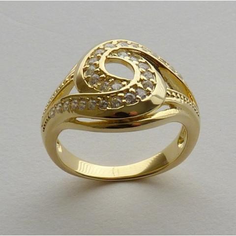 Anel Prata 925 com Garantia e Banho de Ouro Amarelo 30 Zircônias Aro 17 Cód 7525-17