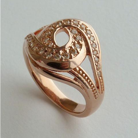 Anel Prata 925 com Garantia e Banho de Ouro Rose 30 Zircônias Aro 14 Cód 7528-14