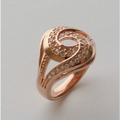Anel Prata 925 com Garantia e Banho de Ouro Rose 30 Zircônias Aro 22 Cód 7528-22