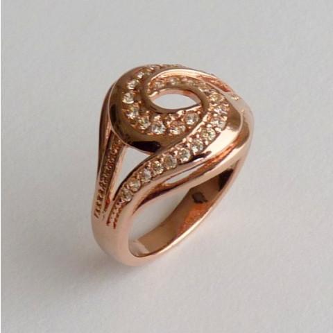 Anel Prata 925 com Garantia e Banho de Ouro Rose 30 Zircônias Aro 24 Cód 7528-24