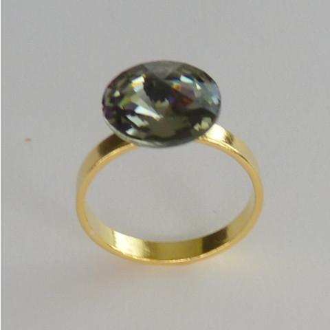 Anel de Prata 925 com Garantia e Folheado OURO 18k Black Diamond SWAROVSKI Cód 7511