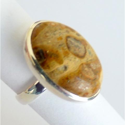 Anel de Prata Indiana 925 com Garantia e Pedra Jaspe Picture NATURAL 8431
