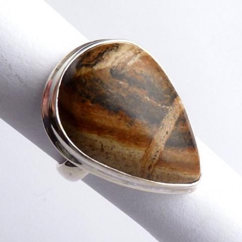 Anel de Prata 925 com Garantia e Pedra Jaspe Picture natural 8439