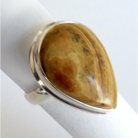 Anel de Prata 925 com Garantia e Pedra Jaspe Picture natural 8440