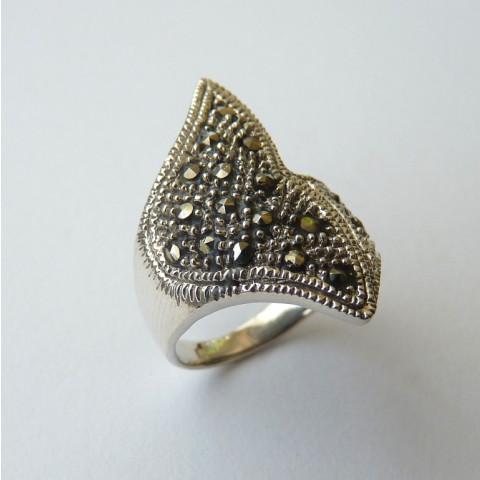 Anel de Prata Indiana 925 com Pedra Preciosa Marcassita Natural 8516
