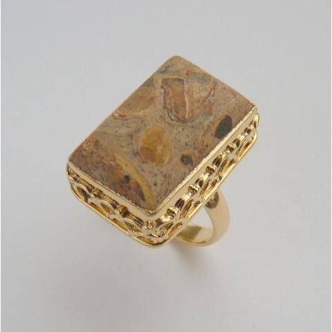 Anel Prata 925 com Garantia e Folheado a ouro 18k com Pedra Jaspe Picture Cód 8424