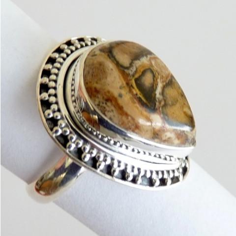 Anel Prata 925 Feito a Mão com Garantia e Pedra Jaspe Picture Cód 7832